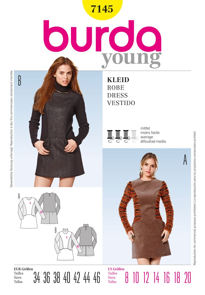 B7145 Burda Style Dress | Two young, sporty dresses with interesting ...
