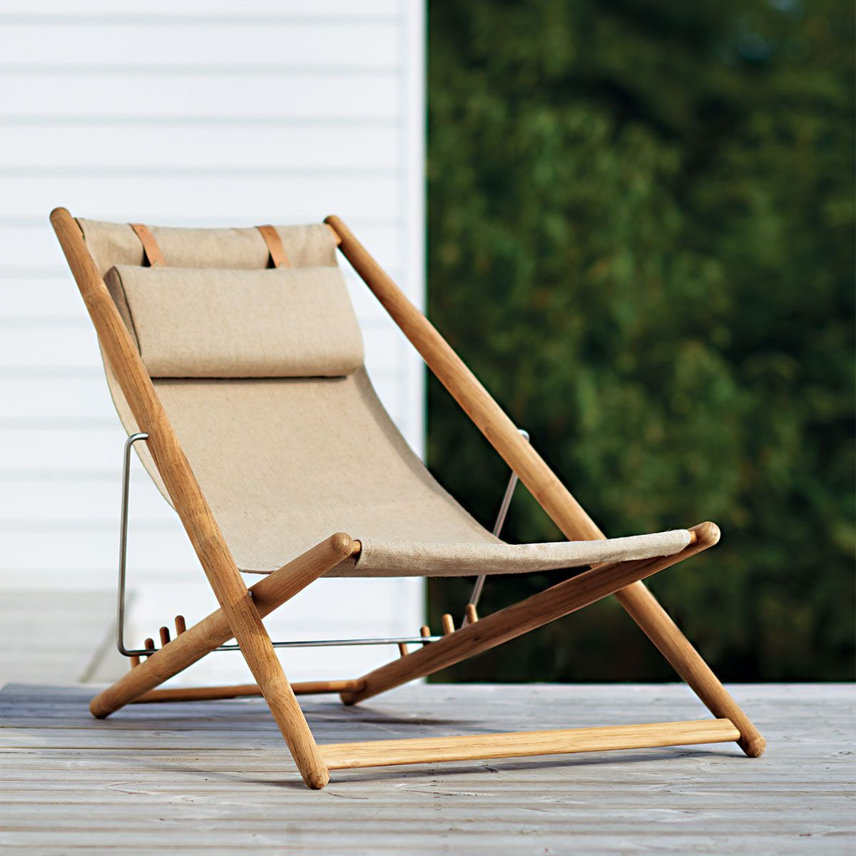 Teak Adjustable Outdoor Sling Chair In Natural Thos Baker Outdoor Sling Chair Sling Chair Outdoor Chairs