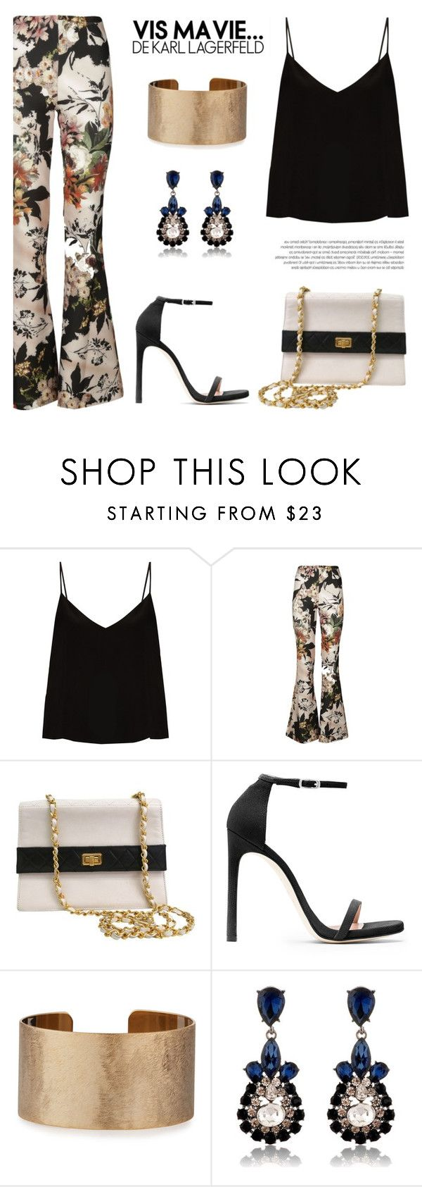 """Floral"" by nadialesa ❤ liked on Polyvore featuring Raey, Black Coral, Chanel, Stuart Weitzman, Panacea, floral and floralprint"