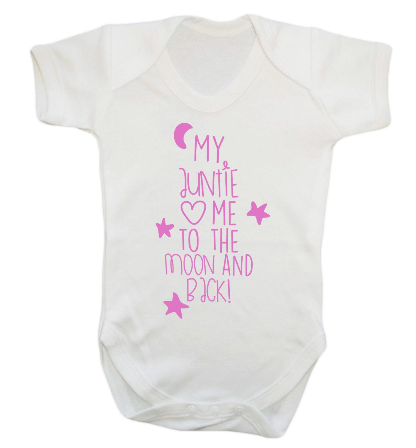 MY AUNTY LOVES ME TO THE MOON AND BACK PERSONALISED BABY GROW BODY SUIT VEST