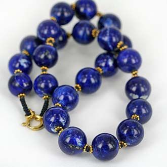 Natural Afghan lapis Lazuli Bead Necklace. Knot-worked necklace with high grade royal blue lapis lazuli matched with gold over sterling silver. Lapis is 100% natural & untreated.