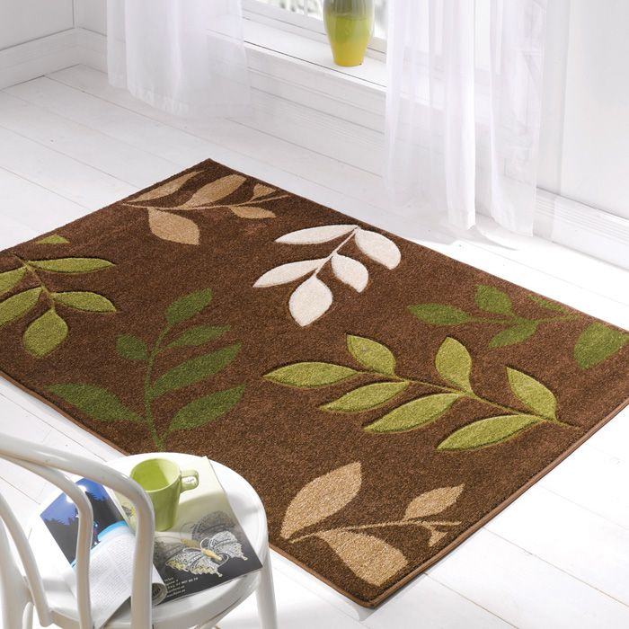 Green Cream And Brown Kitchens | Manor Brown Green Cream Leaf Rug | Rugs |  Curtains And Rugs | Chic At .