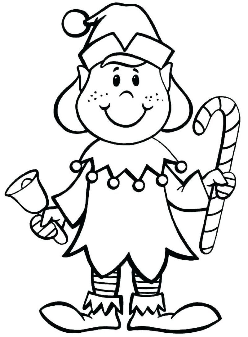Free Print Christmas Elves Working Coloring Pages