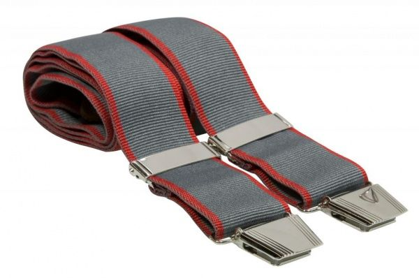 Grey Y Back Plain Ribbed Mens Elastic Trouser Braces With Red Edge