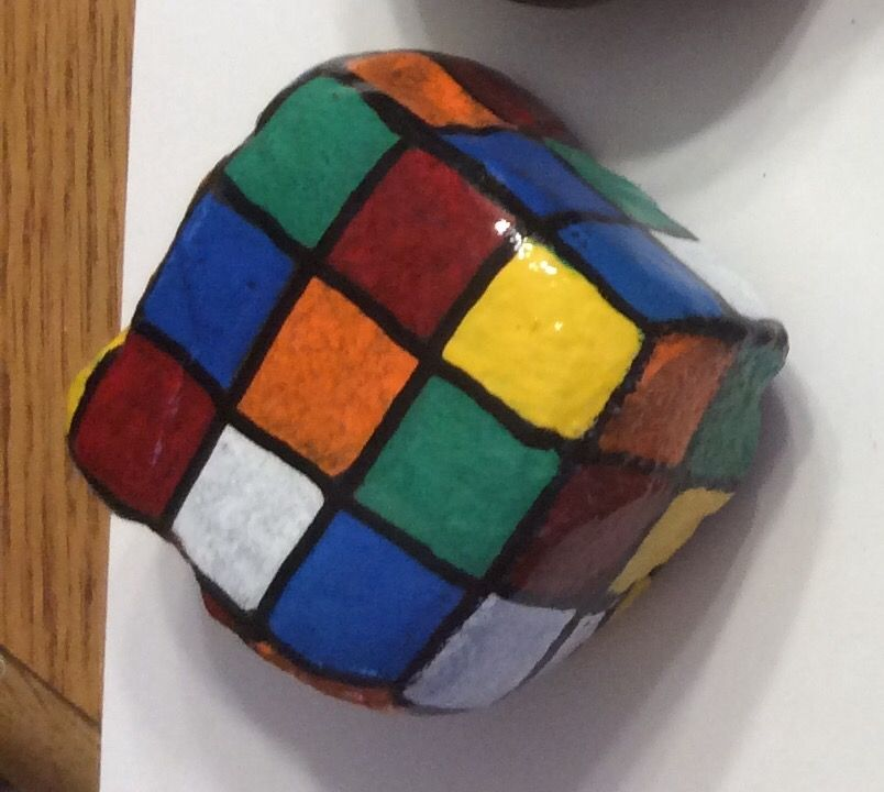 Rubiks Cube Square Rocks Toy Game Painted Rocks By Holly N Rock Crafts Painted Rocks Painted Rocks Kids