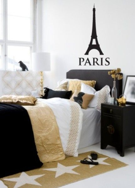 Paris Themed Decals And Colors Paris Themed Bedroom Gold Bedroom Bedroom Makeover