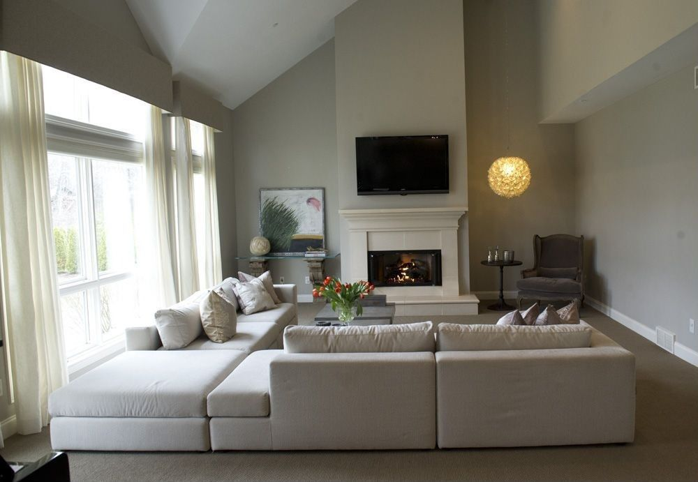 Traditional Living Room With Restoration Hardware Cloud Cube Modular  Sectional, Stone Fireplace, Pendant Light