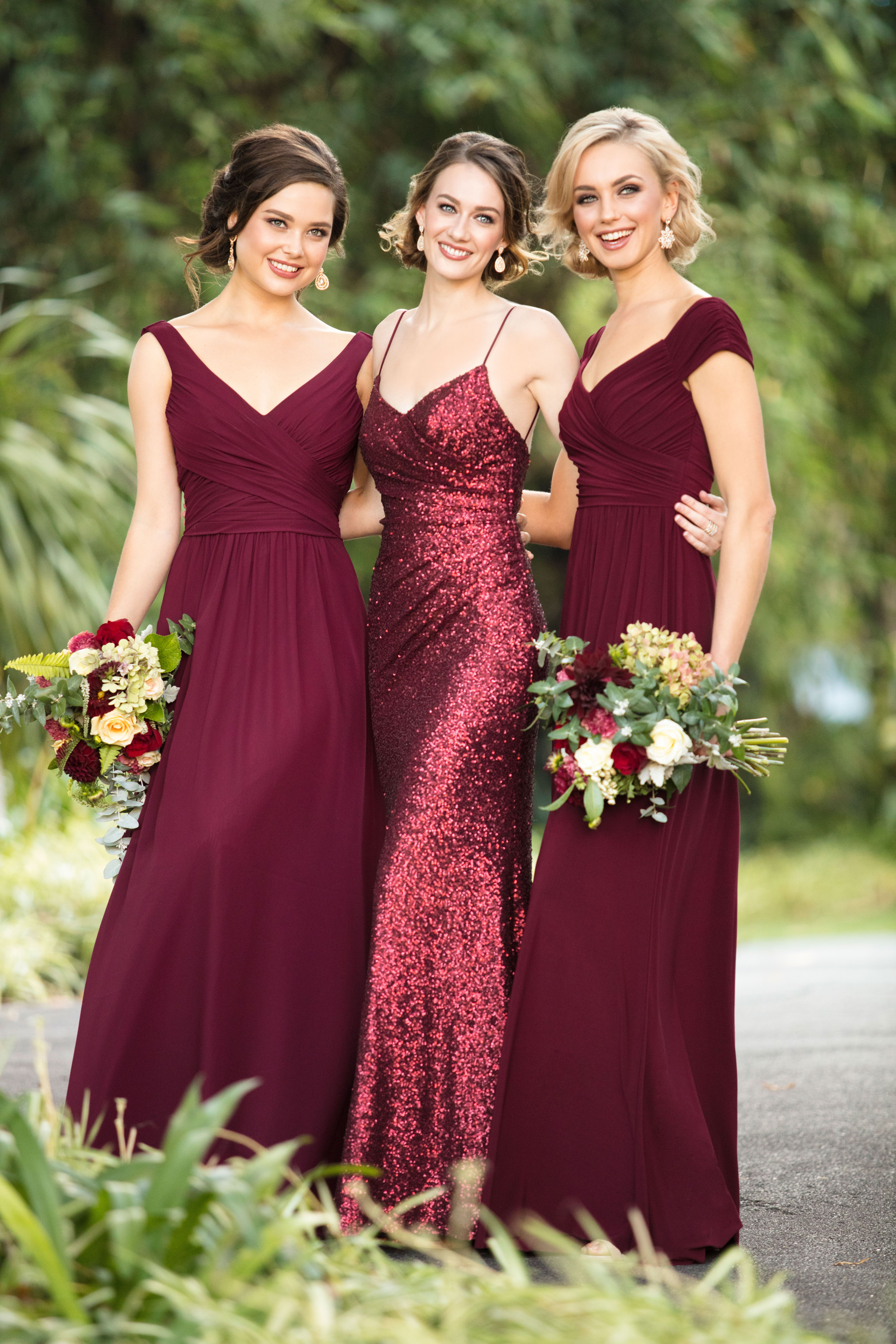 Martha Stewart Weddings - Create a glam mix-and-match bridesmaids look with  crimson matte sequins and luxe burgundy gowns from Sorella Vita. 5878a9c5d05e