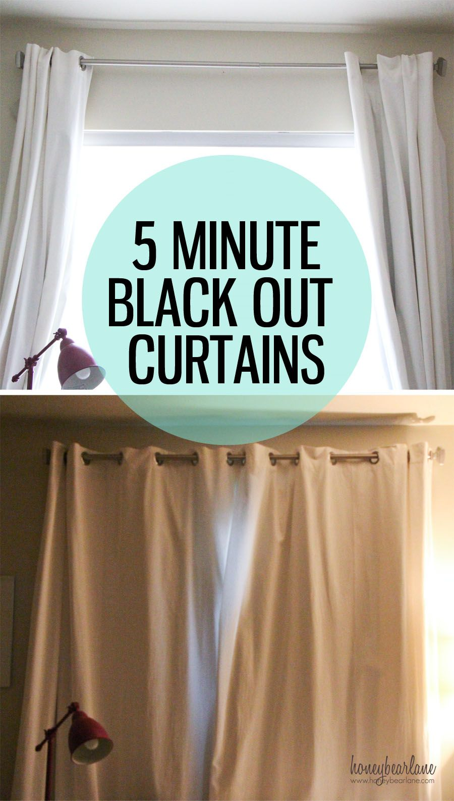 Turn regular curtains into Black Out Curtains with this simple trick!