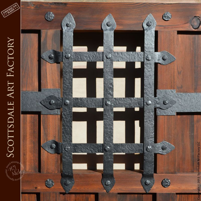Iron Door Grill - Hand Forged Wrought Iron - - Iron speakeasy grill door and window grates handcrafted from solid iron by master blacksmiths - as shown in ... & Iron Door Grill - Hand Forged Wrought Iron - GR4444 - Iron ...