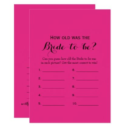 f9eaaab2f6c Double Side Hot Pink Bridal Shower Card