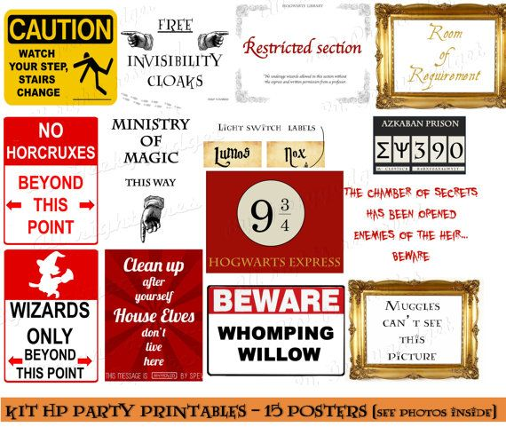 Set Of 15 Hp Printables Posters Pdf Instant Harry Potter Inspired Hogwarts Party Decoration