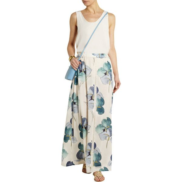 af4910cea6b2 Tory Burch Kendra floral-print stretch-silk georgette maxi skirt featuring  polyvore women s fashion