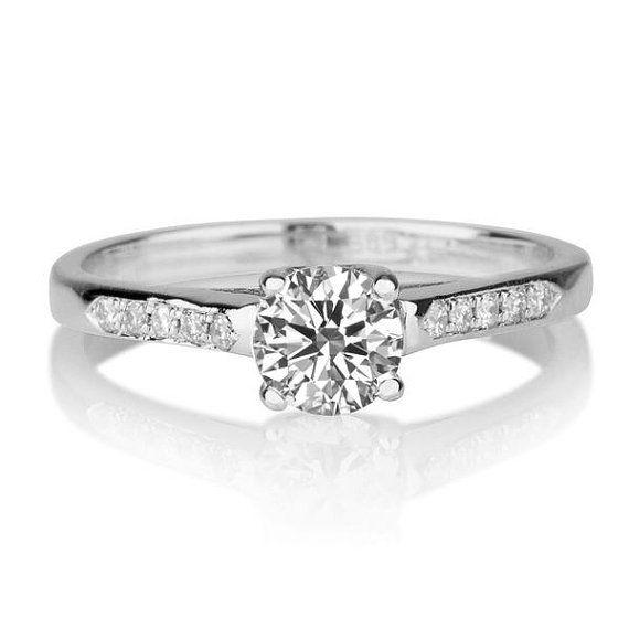 1 3 Carat Diamond Engagement Ring White Gold Cathedral Etsy White Gold Diamond Engagement Ring Classic Diamond Engagement Ring Cathedral Diamond Ring