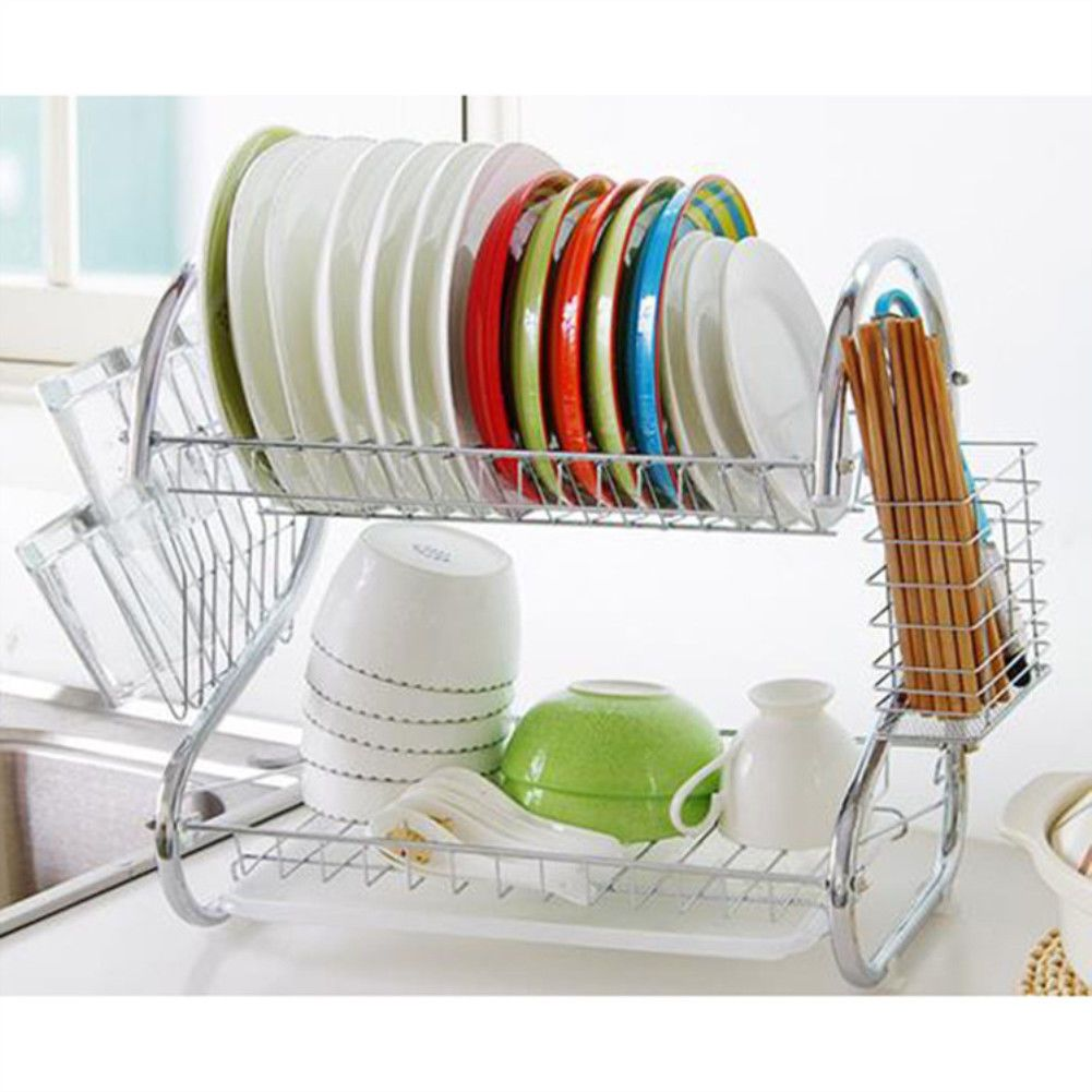 Large Capacity 2 Tier Dish Drainer Drying Rack Kitchen Storage