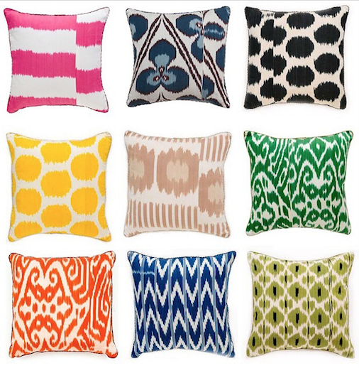 Colorful Arrangement Of Madeline Weinrib Ikat Pillows From Pantai