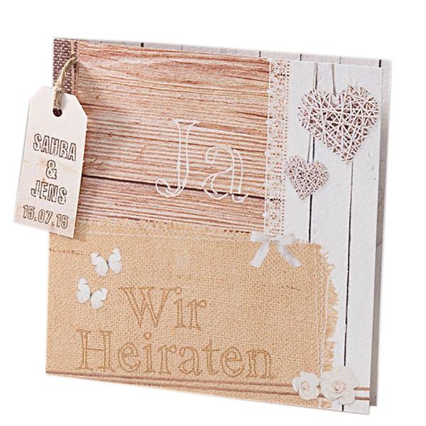 Einladung Zur Hochzeit In Holzoptik