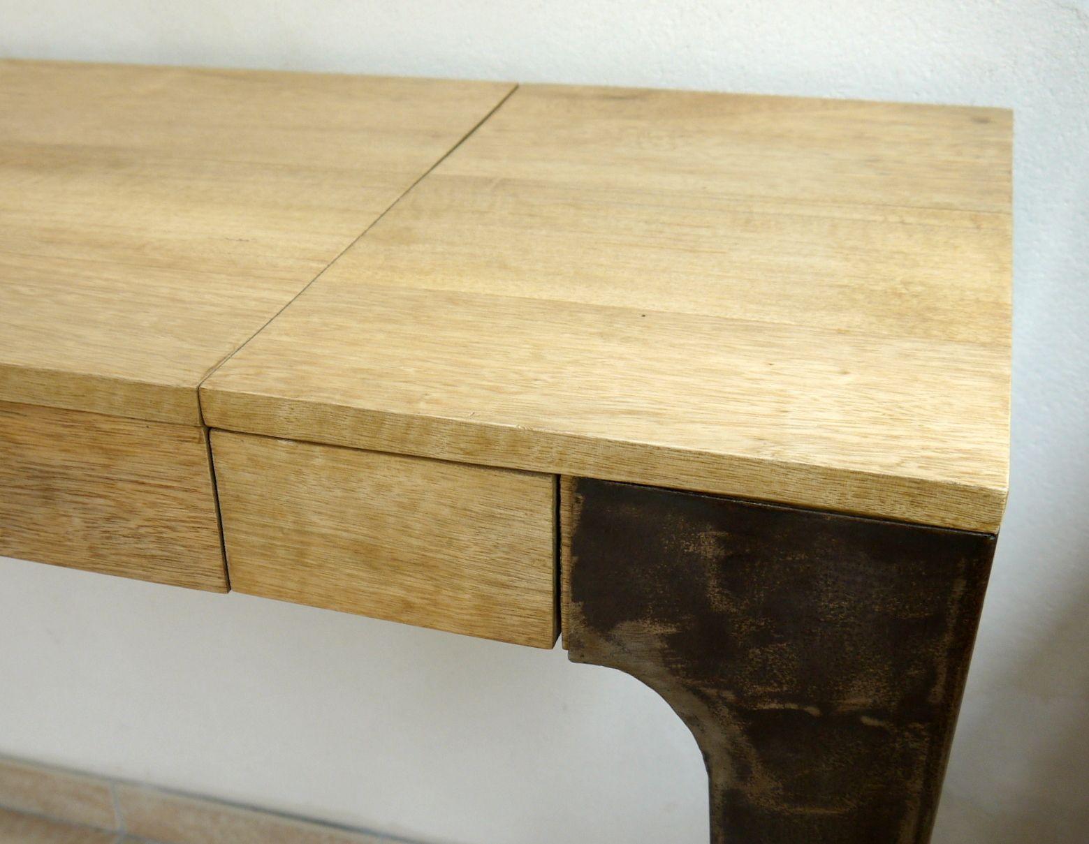 La console et bureau en bois de fraké bois clair tendance