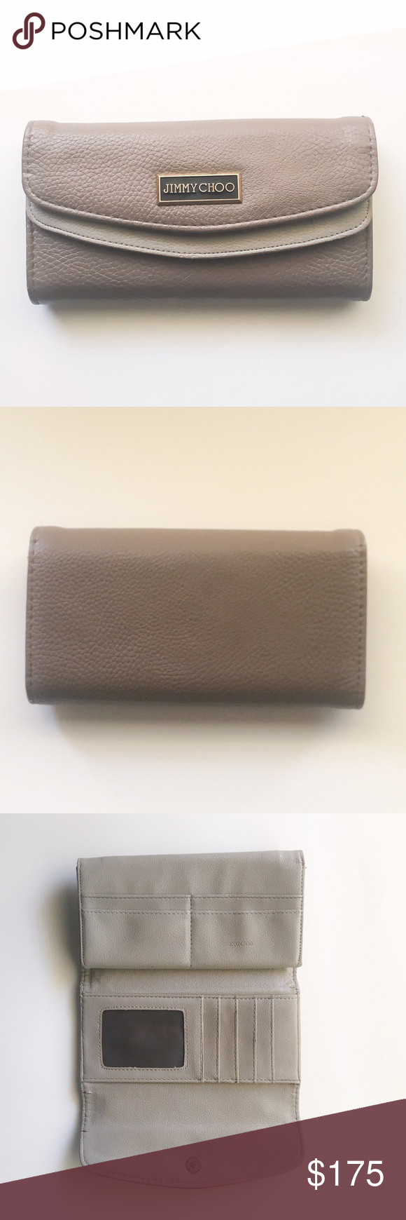 ‼️FLASH SALE‼️Jimmy Choo Wallet Really pretty Gray and Mauve Jimmy Choo Wallet. In great condition but does have some wear in change purse area as shown in the picture. Has a card slot section as well as zipper section that is big enough for change, lipstick, and other trinkets! Jimmy Choo Bags Wallets