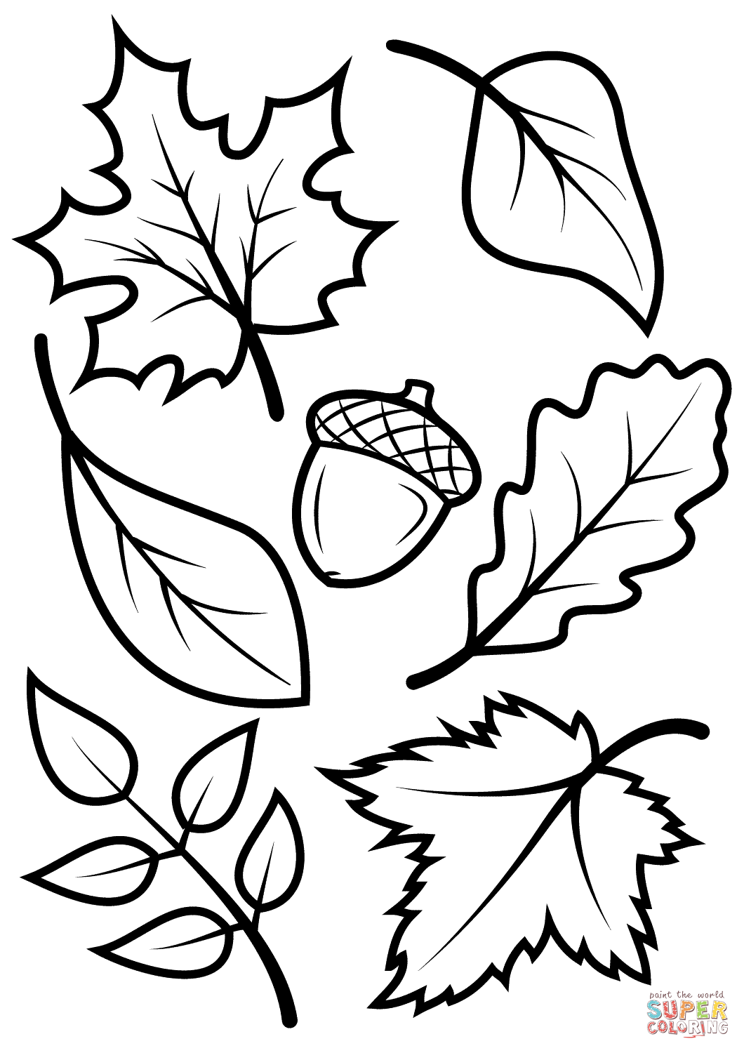 Fall Leaves And Acorn Coloring Page From Fall Category Select From Printable Crafts Of