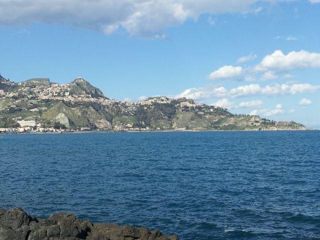 Taormina and Castelmola view from Giardini Naxos seaside