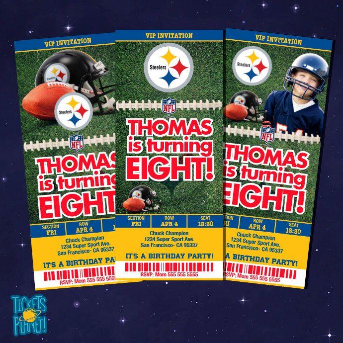 Sports Ticket Invitation - Sport Ticket - Pittsburg Steelers  Tickets Birthday - Pittsburg Steelers  Birthday Ticket NFL Printable by TicketsPlanet on Etsy
