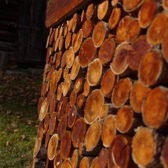 Holzstapel im Herbstlicht