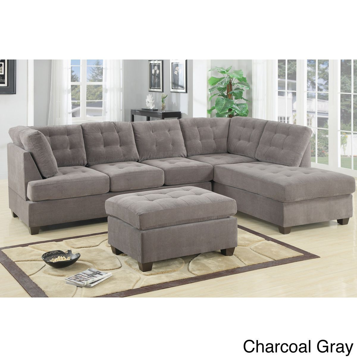 Flexsteel Sofa Odessa Waffle Suede Reversible Sectional Sofa with Ottoman