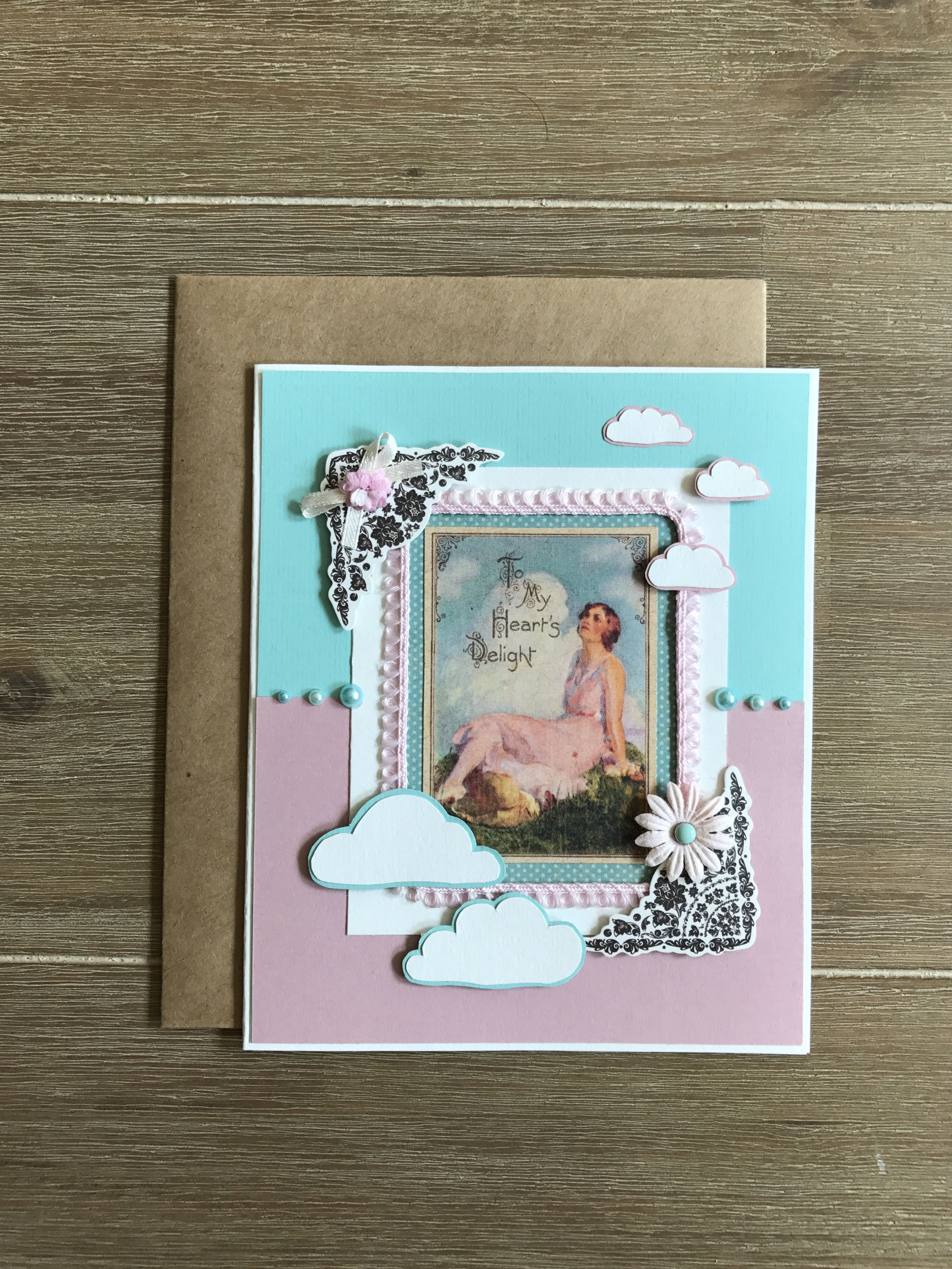 Mint pink greeting card birthday card one of a kind handmade card