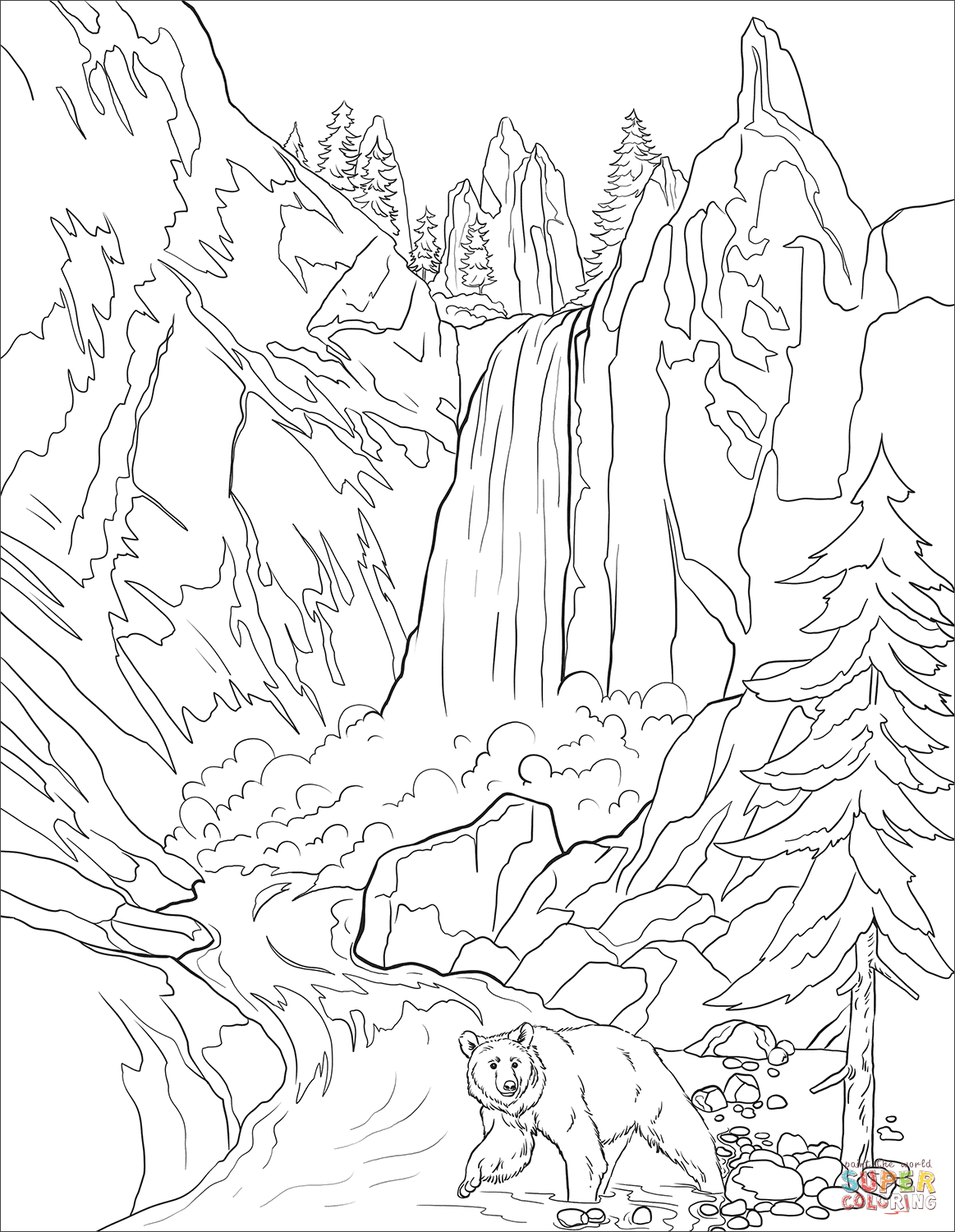 Yellowstone National Park coloring page Free Printable