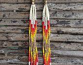 Shouder Duster Earrings, Long Fringe, Seed Beads, Native American Inspired, Boho Style Earrings, Tribal Style Earrings