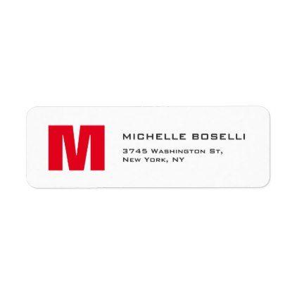 Professional Red White Monogram Modern Unique Label