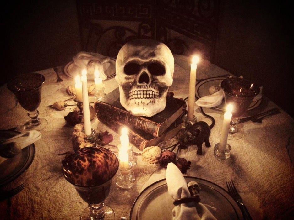 Pin By Julia Lovelace Johnson On I Love Skulls Halloween Table Decorations Halloween Table Halloween Centerpiece