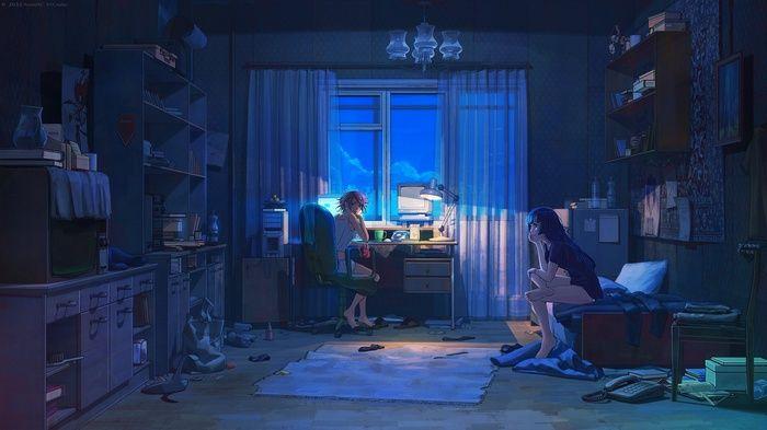 Night Everlasting Summer Room Wallpaper Wallpaper Pemandangan Anime Wallpaper Anime Wallpaper Seni