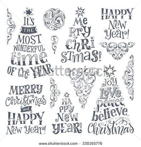 Vektorset von Feiertagen Buchstaben und Zierelemente. Stock-Vektorgrafik (Lizenzfrei) 330165776