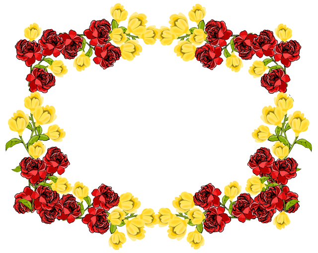 Free Red And Yellow Flower Frame Png Rosenrahmen Freebie Flower Frame Flower Frame Png Flower Border