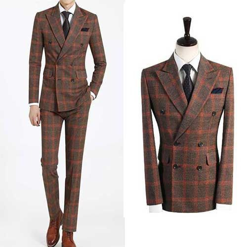 BROWN double Breasted prom suit slim fit formal men s wedding ...