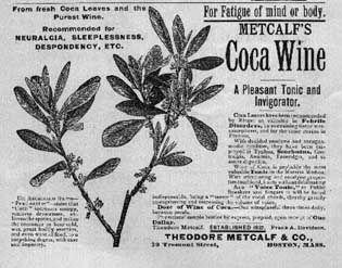 """El Coca Wine de Metcalf, fabricado en Boston con """"hojas frescas de coca y vino puro"""" por Theodore Metcalf"""