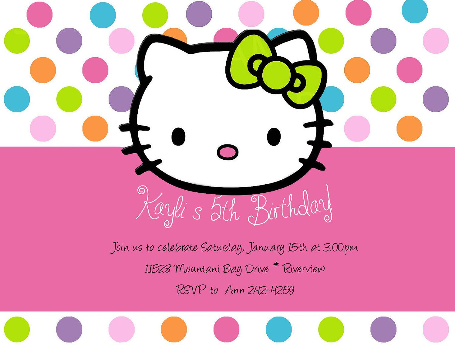 Hello Kitty Birthday Invitations Hello kitty birthday Birthdays