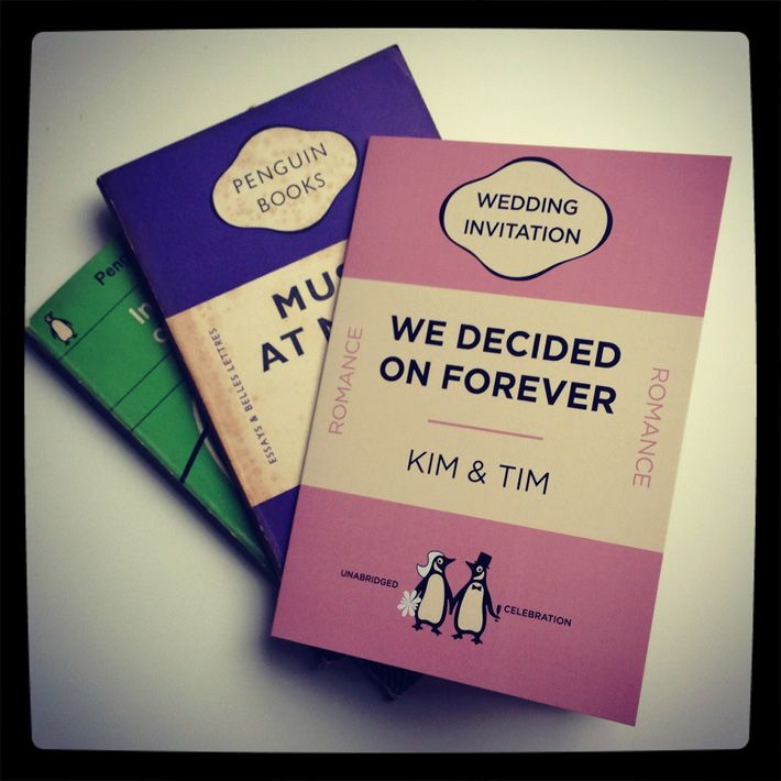 Penguin Book Cover Wedding Invitation ~ Penguin book style wedding invitations stationery