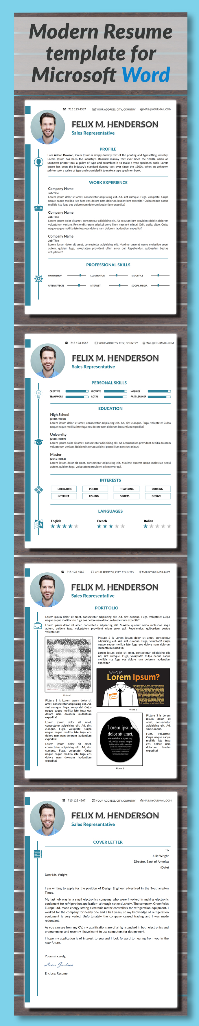 modern resume template cover letter portfolio business