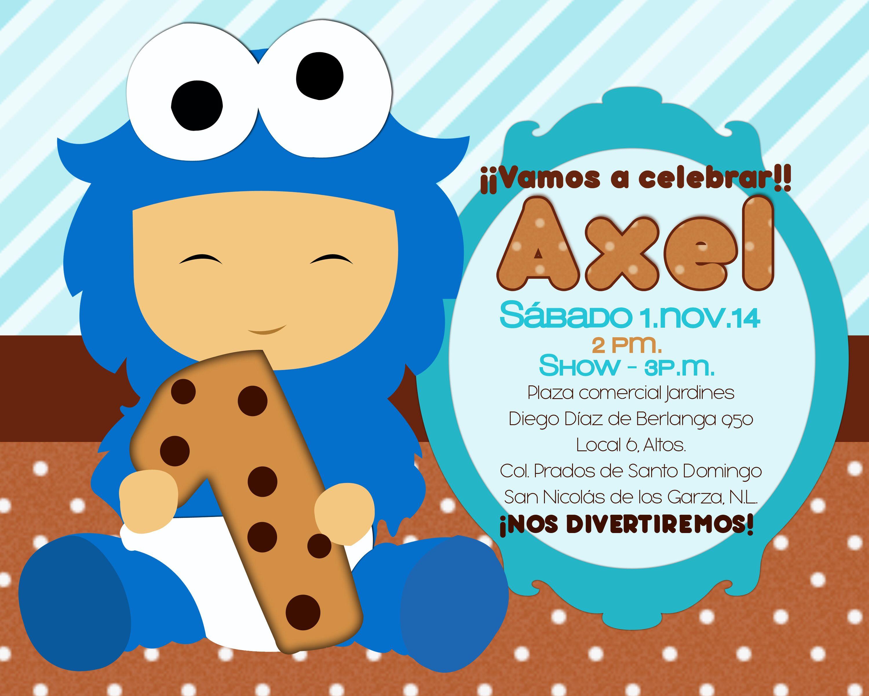 Invitación fiesta Axel Monster Cookies | Fiesta Axel Come galletas ...