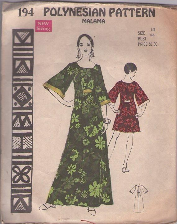 MOMSPatterns Vintage Sewing Patterns - Polynesian Pattern 194 Vintage 60's Sewing Pattern DIVINE Hawaiian Goddess Malama Full Bell Sleeves Flared Tent Dress, Cruise Maxi Gown Size 14