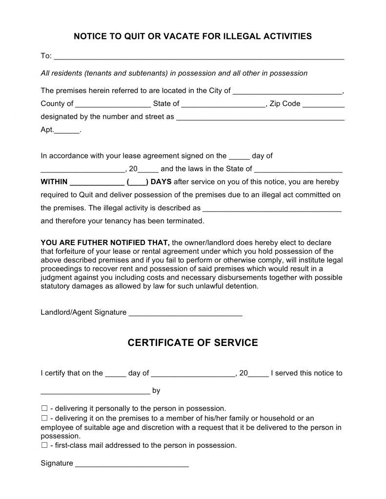 Free Blank Notice To Quit Form Illegal Activity Pdf Word Template Eviction Notice Power Of Attorney Form Lesson Plan Book Templates