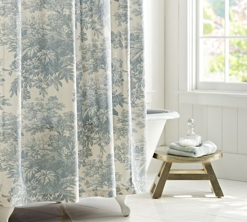 Matine Toile Shower Curtain Pottery Barn Patterned Shower