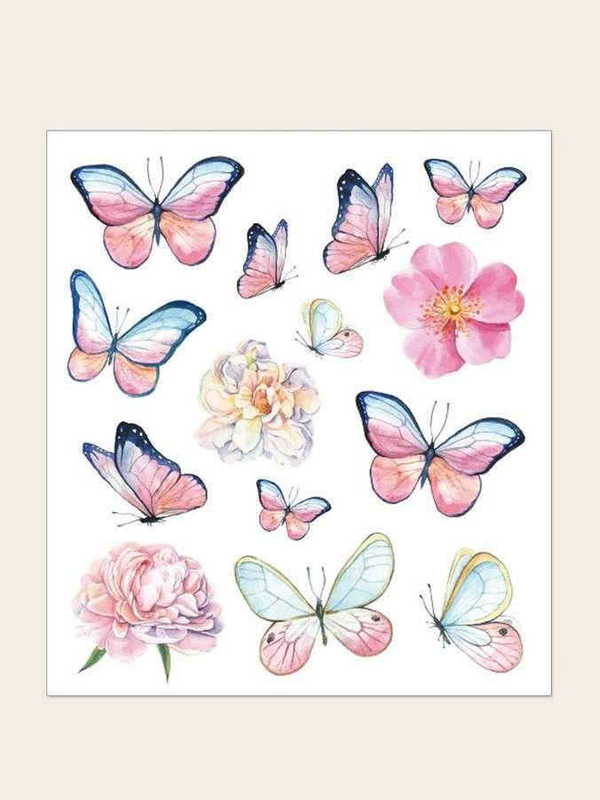 Butterfly Pattern Tattoo Sticker 1sheet