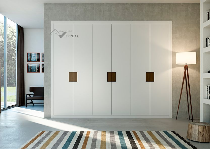 Armarios de puertas abatibles lacadas blancas con tirador - Armarios con puertas abatibles ...