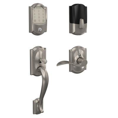 Schlage Camelot Encode Smart Wifi Door Lock With Alarm And Accent Lever Handleset In Satin Nickel Fe489cam619acc The Home Depot Wifi Door Lock Schlage Smart Deadbolt