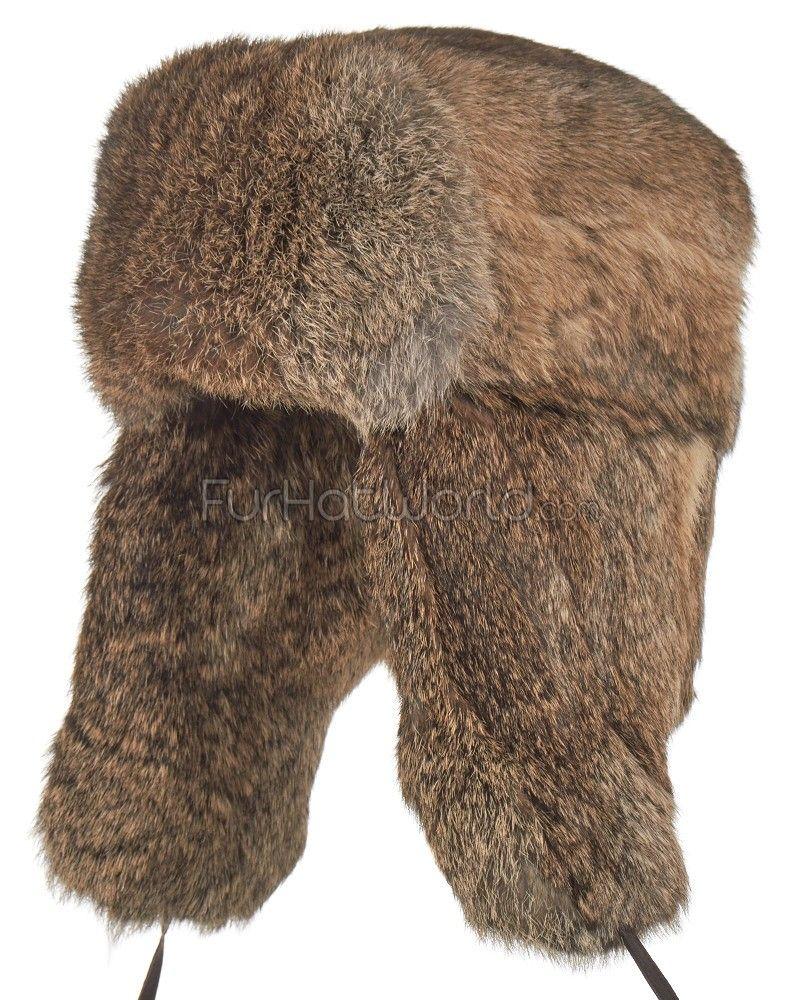 Brown Rabbit Fur Russian Ushanka Hat for Men in 2019  538f07902ce3