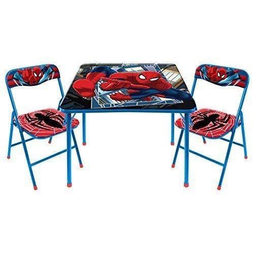 Kids Spiderman Sturdy Table Chairs Set Children Spiderman Furniture Easy Clean Kidsspidermansturdytablechair Table And Chair Sets Chair Set Desk And Chair Set